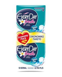 Σερβιέτες EveryDay Fresh NORMAL Ultra Plus Οικονομική Συσκευασία 18τεμ