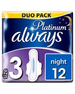 Always Platinum Ultra Night Με Φτερά 12 Τεμάχια (Mέγεθος 3)