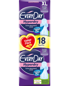 Σερβιέτες Everyday Hyperdry EXTRA LONG Ultra Plus Value Pack 18 τεμ.