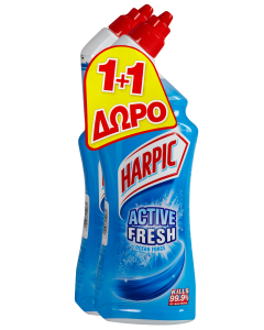 Harpic Υγρό Καθαριστικό Λεκάνης Θαλάσσια Φρεσκάδα (750 ml) 1+1