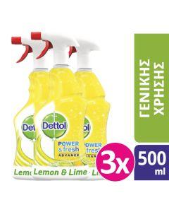 Dettol Spray Αντιβακτηριδιακό Lemon & Lime 3x500ml
