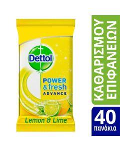 Dettol Αντιβακτηριδιακά Μαντηλάκια Καθαρισμού Επιφανειών με Άρωμα Λεμόνι 40τεμ