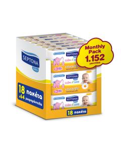Septona Mωρομάντηλα Monthly Pack Calm 'n Care Χαμομήλι 18x64τεμ (1152τεμ)
