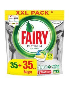 Fairy Platinum Lemon Κάψουλες Πλυντηρίου Πιάτων 35 +35 Δώρο Κάψουλες