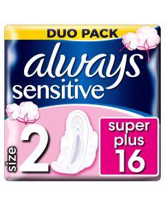 Always Ultra Sensitive Long Plus Duo (Μέγεθος 2) Σερβιέτες Με Φτερά 16 Τεμάχια