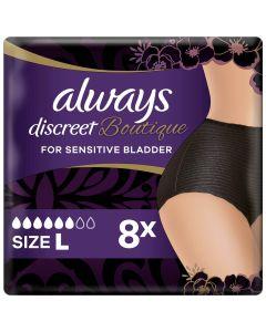 Always Discreet Boutique Εσώρουχα Για Την Ακράτεια Plus Μαύρο- L 8τεμ