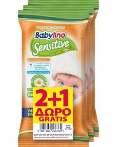 Μωρομάντηλα Babylino Mini Pack Με Απαλό Αρωμα με καπάκι 2+1 Δώρο (3x10τεμ)
