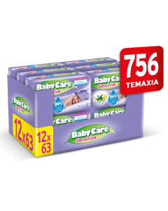 Μωρομάντηλα Babycare Sensitive Super Value Box 756τεμ (12x63τεμ)