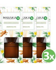 Botanica by Airwick Αρωματικά Στικ Βετιβέρ Καραϊβικής & Σανδαλόξυλο 80ml x3