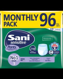 Ελαστικό εσώρουχο ακράτειας Sani Sensitive Pants Monthly Pack Small No1 96τεμ