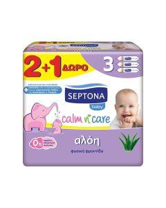 Septona Mωρομάντηλα Calm n' Care Αλόη 2+1 Δώρο (3x57τεμάχια)