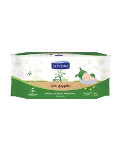Septona Mωρομάντηλα Ecolife Βιοδιασπώμενα -100% βαμβάκι  (60τεμάχια)