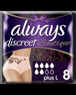 Always Discreet Boutique Εσώρουχα Για Την Ακράτεια Plus L Peach 8τεμ